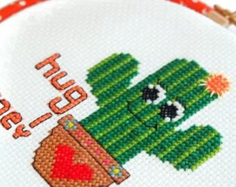 Hug me Cross Stitch-Cactus Hoop Art- Wall Art-Ready to Hang-Needlepoint Art-Cute Cross Stitch-Kids Room Decor-Gardener Gift-Valentine Gift