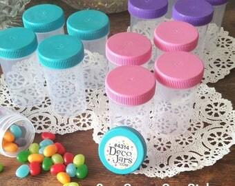 35 Empty Party Pill Candy JARS Plastic Container Pink Purple Aqua Caps Doc McStuffins Party DecoJars #4314