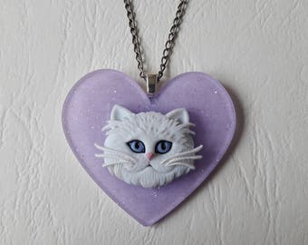 ♥ Purple Heart pendant and cat white ♥♥