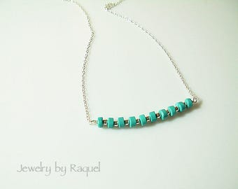 Turquoise Bar Necklace / Delicate sterling Silver Necklace / Dainty Gemstone Chain - Sterling Silver
