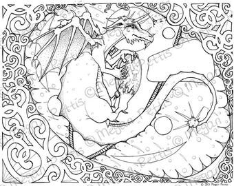 dragon eyes intricate adult coloring book page instant download digital file complicated - Complicated Coloring Pages