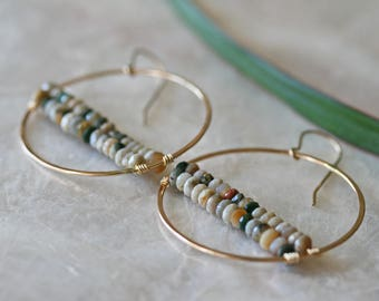 Hoop Earrings, Jasper Earrings, Ocean Jasper Earrings, Dangle Earrings, Round Hoop Earrings, Gemstone Earrings, Hoop Earrings with Bead