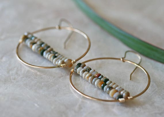 Hoop Earrings, Jasper Earrings, Ocean Jasper Earrings, Dangle Earrings, Round Hoop Earrings, Gemstone Earrings, Hoop Earrings with Bead