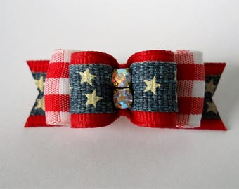 "Dog Bows- 5/8"" Old Glory Denim & Gingham Dog Bow"