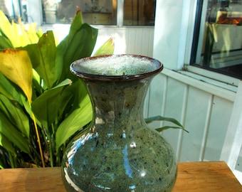 Signed Veron Ownes Jugtown Ware Vase Seagrove 1988 / Arist Signed Jugtown Ware Vase / North Carolina Pottery Vase