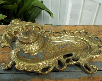 Brass Fancy Scroll Roccoco Style Inkwell with Ink Pot Office Card Holder Library