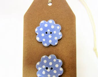2 blue and white spotted large ceramic flower buttons