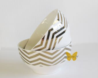 Gold and White Snack Bowl Set