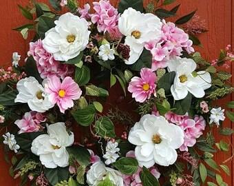 Magnolia Wreath....Floral Wreath....Hydrangea Wreath