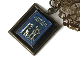 Great Expectations Hidden Book Necklace with Tiny Readable Book Charles Dickens Author