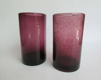 Pair Vintage Control Bubble Handmade Blown Glass Tumblers in Amethyst Purple