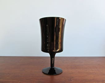 Arabesque Black by Denby, Juice or Wine Glass, Solid Black Glass, Discontinued 1972-1979