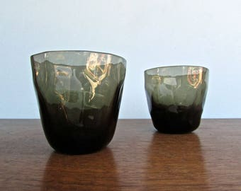 Cubist Faceted Vintage Smokey-Khaki  Whiskey Glasses, Funky-Classy Modern Barware