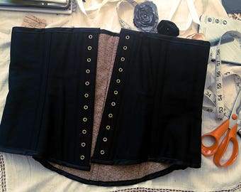 READY TO SHIP  Mid length black cotton drill  Steel boned Front lacing waspie corset