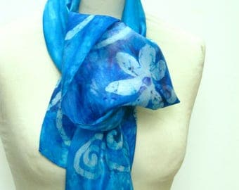 Hand Painted Silk Scarf Turquoise Flower
