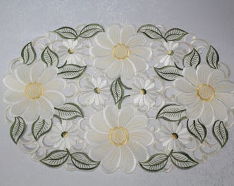 Large Yellow Daisy Placemat or Doily Embroidered Cutwork on Antique White Material in Various sizes