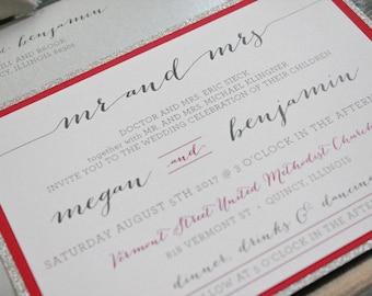 Silver Glitter Wedding Invitations, Raspberry Winter Wedding Invitations, Fuchsia Invites, DIY Hot Pink Invitation Kit, Megan & Benjamin