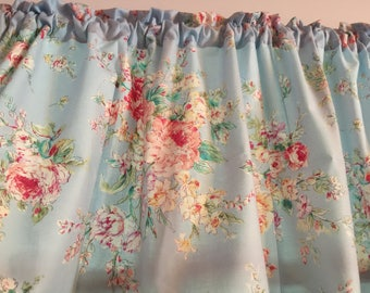 Powder Blue Shabby Chic Floral  New Cotton Window Curtain Valance