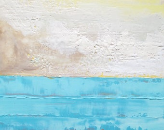 Abstract Ocean Painting, abstract encaustic painting, beach painting, clouds