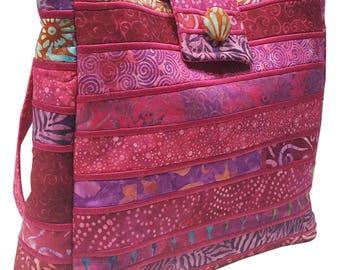 Large Batik Purse in Shades of Fuchsia Fabrics