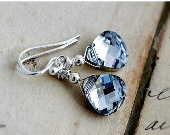 Summer Sale Crystal Earrings, Drop Earrings, Dangle Earrings, Wire Wrapped, Silver Crystal, Swarovski Crystal, Metallic Earrings, Modern Ear