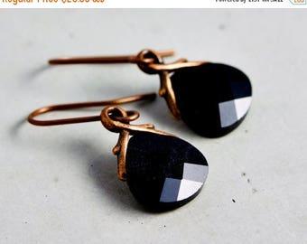 Swarovski Crystal Earrings, Dangle Earrings, Drop Earrings, Black, Copper Earrings, Noir Jewelry, Black Crystal, Dark Black, Gift Idea