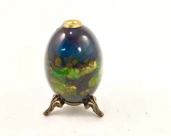 Egg collectable real egg on brass legs black blue  green egg collector EASTER EGG Black  Vintage Hand Painted