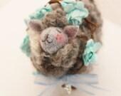Sheep Little Gray Sheep Prim Needle Felted Sheep # 3394