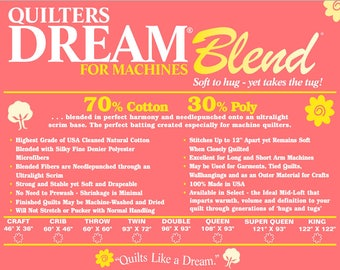 Batting Quilters Dream Cotton Poly Blend Mid Loft Medium Weight Sampler Pack Natural Color Quilt Stuffing Machine Quilting