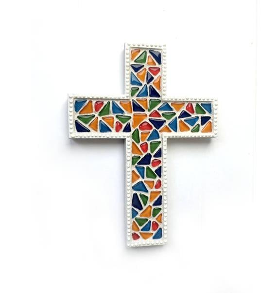 Mosaic Cross, Stained Glass Style Mosaic Wall Cross, Rainbow Mosaic Cross, Mosaic Cross Wall Hanging, Handmade Cross Art, Nursery Cross