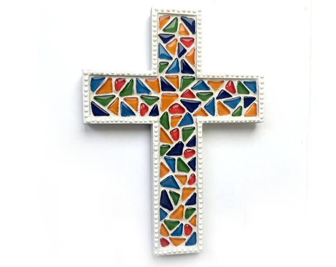 Mosaic Cross, Stained Glass Style Mosaic Wall Cross, Rainbow Mosaic Cross, Mosaic Cross Wall Hanging, Handmade Cross Art, Nursery Cross