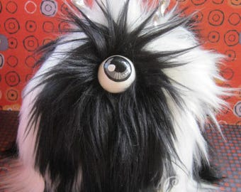 MONSTER!! Cyclops Monster Box Adorable Hairy Black and White Cute Monster with Horns! Box to hide your stuff in plain sight! Furry and FUN!