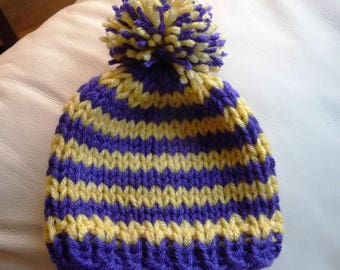 Newborn to Three Months Purple and Yellow Striped Vikings Beanie Ready to Ship