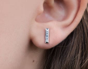 Stud Earrings- Hammered Bar Ingot