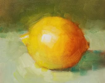 "Small Original Oil Painting, Lemon, 5 x 5"", Unframed, Wall Art, Kitchen Art"