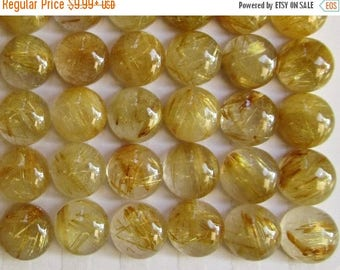 20% OFF SALE AAA Gold Rutilated Quartz Cabochon 8mm Round, Natural Quartz ,Buy More And Save