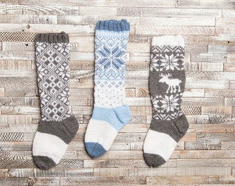 Christmas Stocking, Christmas Stocking Patterns, Christmas Stocking Design, Christmas Knitting, gray and white stocking, Moose