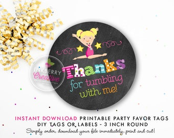 Girls Gymnastics Tumble Birthday Party Favor Tags (Blonde Hair) - Chalkboard Style - Printable 3 inch Round - Instant Download PDF File
