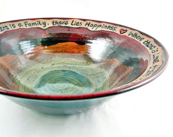 Wedding blessing bowl, Handmade pottery wedding gift, housewarming gift, large handmade pottery bowl - In stock 152
