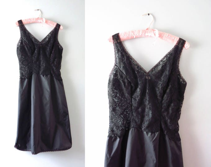 Black Slip Dress | 1950s Black Lace & Satin Full Slip Dress M
