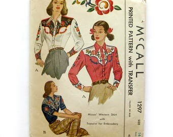Vintage Western Shirt Sewing Pattern / McCall 1297 / Vintage 1946 / Embroidery Transfer, Rockabilly, Short Long Sleeve / Size 14 UNCUT