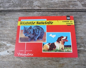 Vintage 1970/1980s French children's educational books Volumetric Dogs & Cats