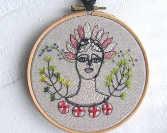 Hoop art - Hand embroidered, Garland Girl - many hand stitches makinga charming textile artwork in a hoop