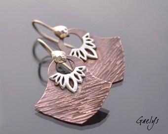 Carlat - boucles d'oreille cuivre martelé et décor argent - bo Gaelys