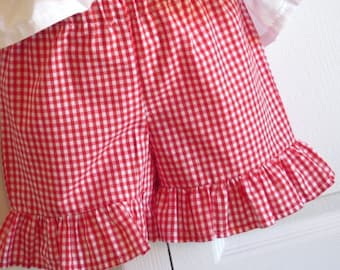 Girls Ruffled Shorts in your choice of cotton fabrics - seersucker, pique, gingham floral plaid - 12 months to size 8