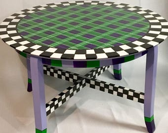 Lovely Whimsical Painted Coffee Table, Whimsical Furniture, Painted Round Coffee  Table, Tartan Plaid Coffee