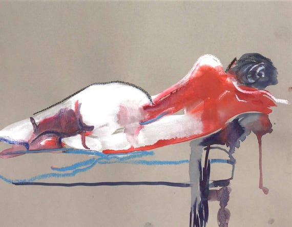 Nude painting- Original watercolor painting of Nude #1430 by Gretchen Kelly