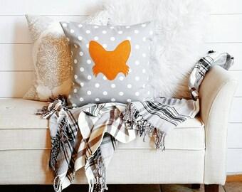 Fox Pillow Cover- fits a 16 x 16 pillow form