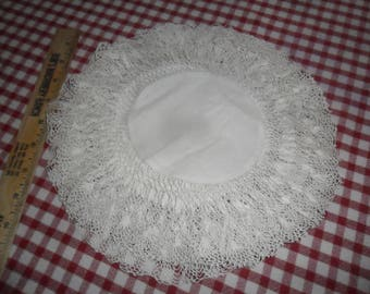 "Matching set of 6 Vintage Linen Round 10 1/2"" diameter Doilies w/Handcrochted Edging"