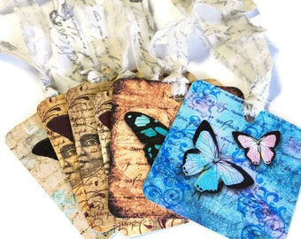 6 Old World Butterfly Gift Tags, Different Designs and Colors, party favor tags, hang tags, Takuniquedesigns, ow2